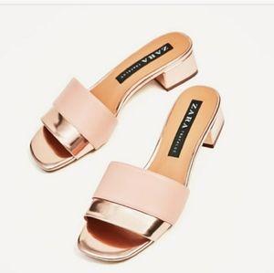 Zara Pink Gold Block Heel Sandals Size 9